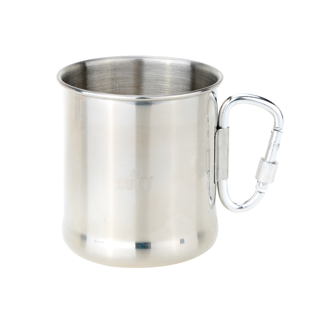 Portable Durable Space-saving 250ml Stainless Steel Mug +Foldable Self-lock Carabiner Handle Outdoor&Camp Folding Handle Cup cup