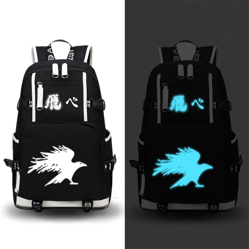 High Quality Anime Haikyuu Hinata Syouyou Luminous Backpack Men Women Shoulder School Bags Bookbag Knapsack Packsack for Teenage anime haikyuu cosplay hinata syouyou cos student canvas men and women backpack