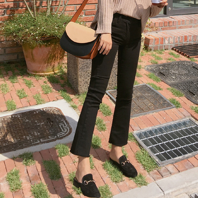 Autumn And Winter  New Korean Version Of High Waist Elastic Black Micro-horn Jeans Female Nine Points Jeansb3