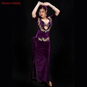 Image 5 - Women Performance Belly Dancing Show in Costume Bra+Underpants+robe+Headdress+belt 5PCS velvet Dance Cothing Belly dance Dress