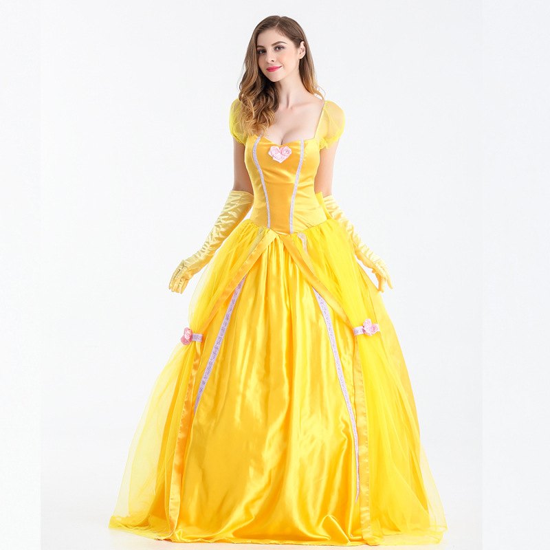 S-XXL Beauty and the Beast Halloween Princess belle cosplay Dress yellow party carnival fancy Fairy costume stage costume