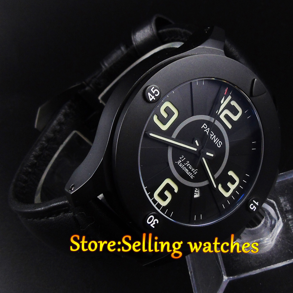 47mm Parnis black dial PVD case Sapphire Glass miyato Automatic men's watch