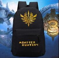 600D Black Monster Hunter Cute Laptop Backpack Bag School Shoulder Bag Travelling Bag Gift 45x32x14cm