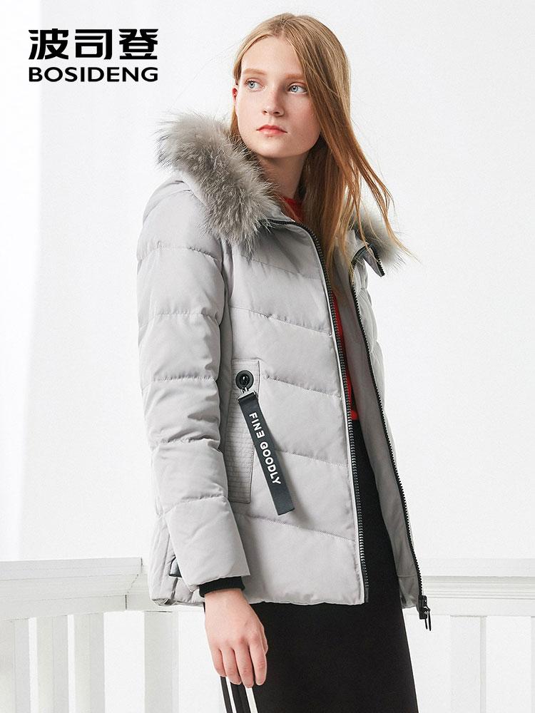 Image 3 - BOSIDENG women down coat winter thick down jacket mid long real  fur collar thick parka ribbons pocket B70141058Down Coats   -