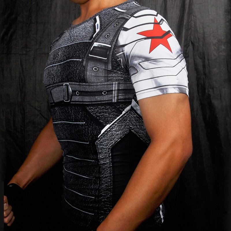 Captain America 3 Superhero Winter Soldier 3D Printed T-shirts Fitness Men Crossfit Compression Shirt Tops