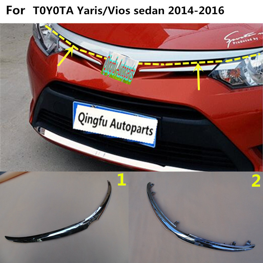 For Toyota Vios/Yaris sedan 2014 2015 2016 car garnish ABS chrome front engine Machine grille hood lid trim lamp panel 1pcs
