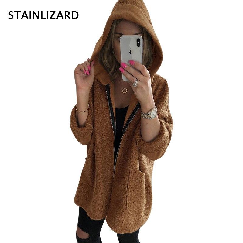 Fur Autumn   Jacket   Women Fleece Faux Fur Women Hooded   Basic     Jacket   Black Loose Desigual Casual Winter Coat Female Outwear MDR96