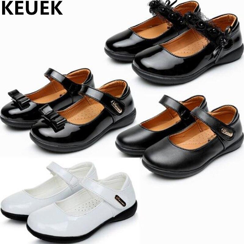 NEW Children Shoes Princess Girls Black Leather White Student School Dress Kids Flats Dance Baby Single 019