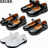 NEW Children Shoes Princess Girls Black Leather Shoes White Student School Dress Shoes Kids Flats Dance