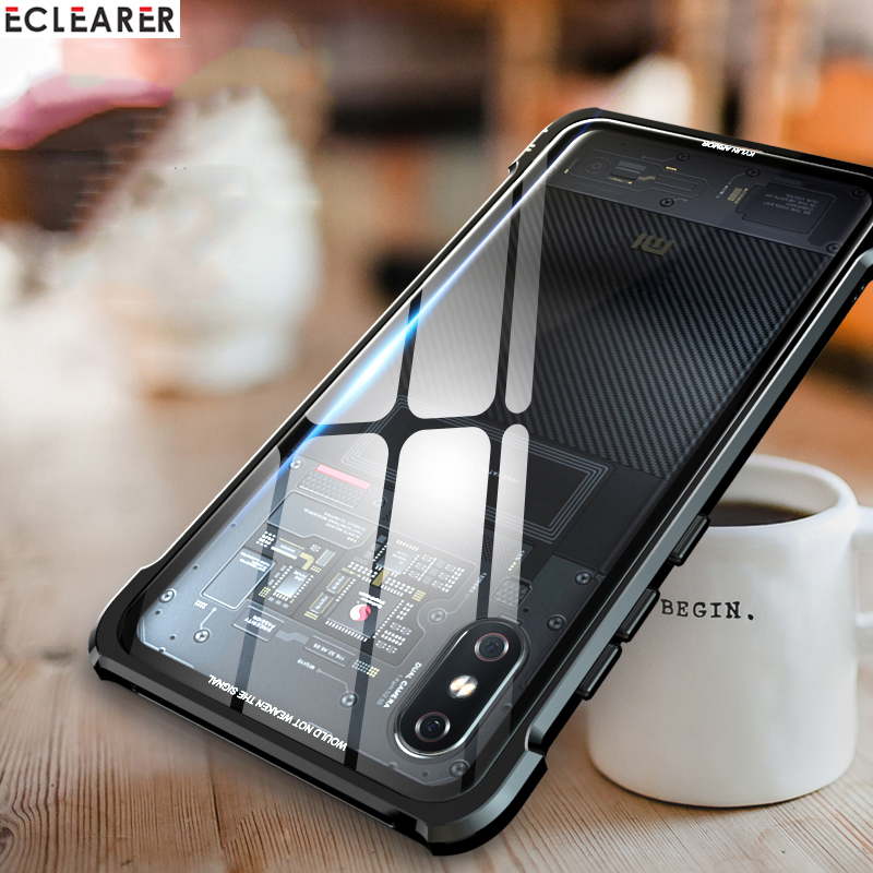 Aluminum Metal Bumper + Tempered Glass Cover Case For Xiaomi Mi 8/ Mi 8 Pro Luxury Shockproof Case For Xiaomi Mi8 Mi 8 Explorer
