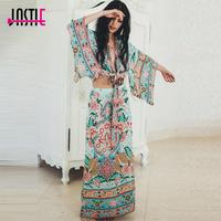 Jastie Lotus Kimono Set Adjustable Wrap Waist Tops Women Jacket Floral Print Maxi Split Skirt Summer