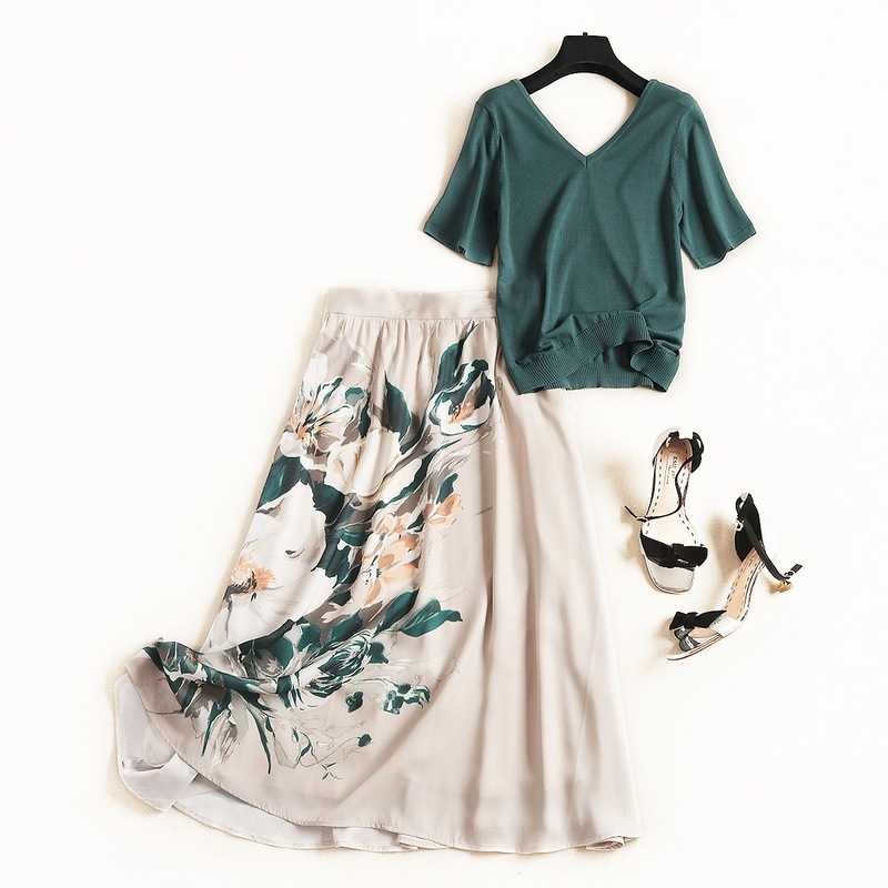 Women Elegant Knit Sweater Top Green Slim Summer Pullovers + A-line Floral Skirts Suit Female Two Piece Set Oufits 2019 New