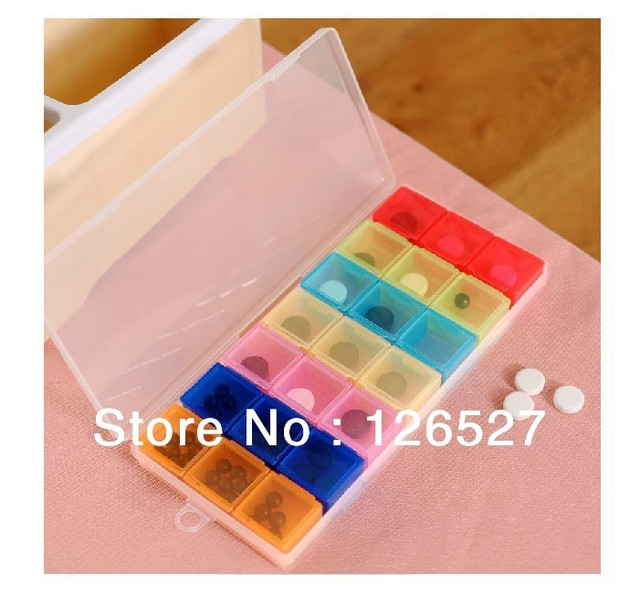 FREE SHIPPING/Portable Seven Days Pill Box Travel Medicine Case Weekly pill Cases