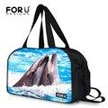 Горячая большой емкости милый дельфин женщины багажа дорожная сумка женская сумка путешествия сумки спортивный костюм случайные выходные мешок мешки ночь