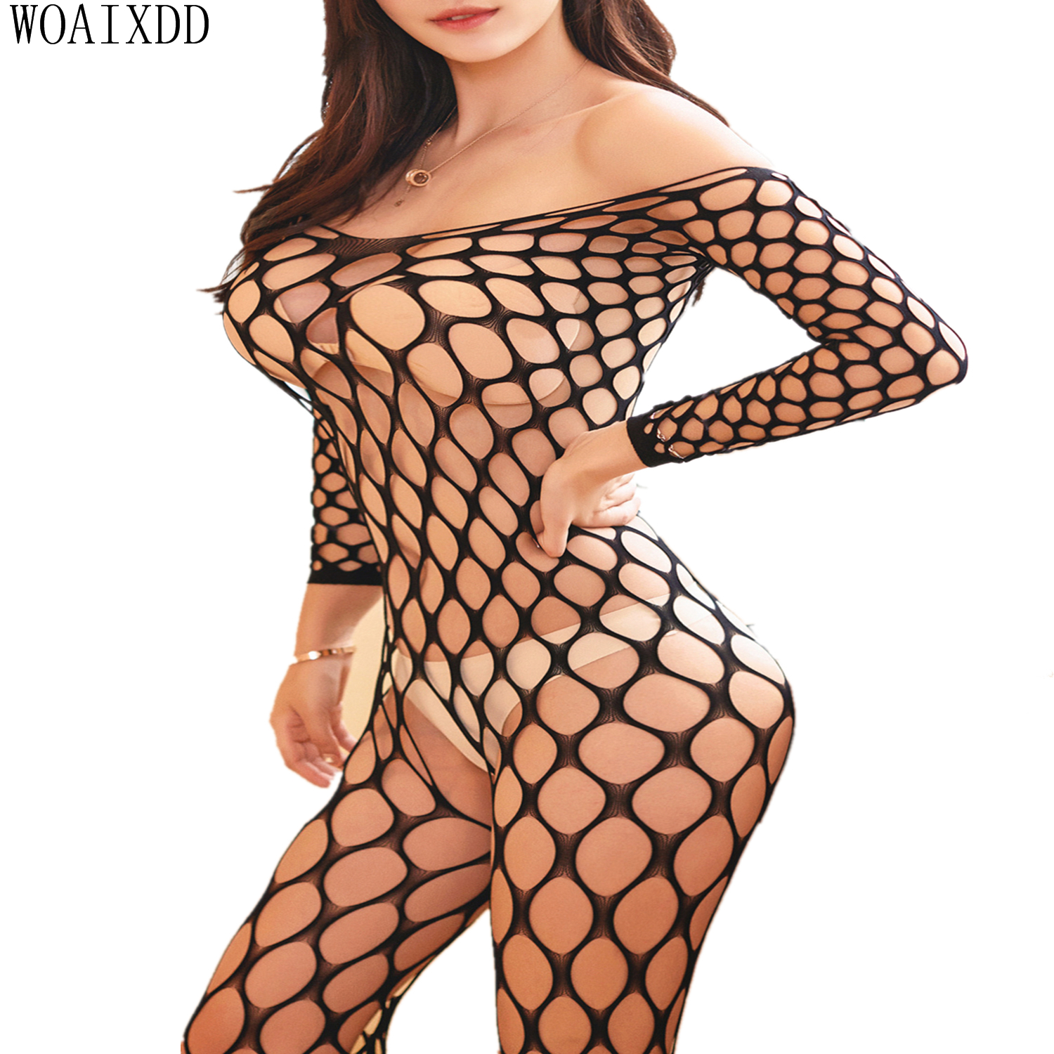 Sexy Lingerie Fishnet Latex <font><b>Catsuit</b></font> Body Stocking Woman Erotic Lingerie Porn <font><b>Sex</b></font> Underwear Open Crotchless Teddies Bodysuits image