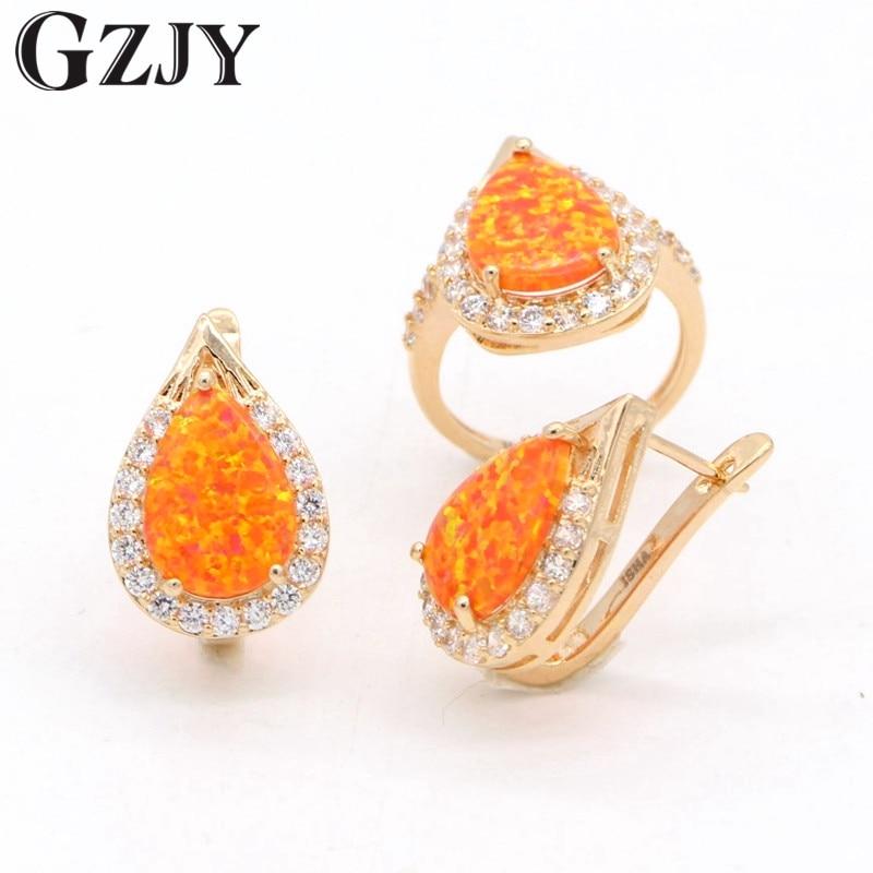 GZJY Jewelry Sets Orange Fire Opal Zircon Gold Color Ring Earrings Fashion Jewelry Set For Women Wedding Anniversary Jewelry