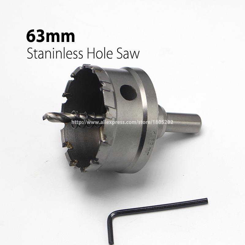 63mm 2.48 Core Drill Bit Hard Alloy Metal Hole Saw Drill Bit for Steel Metal Alloy Cutter Metal Working new 50mm wall hole saw drill bit set 200mm connecting rod with wrench mayitr for concrete cement stone