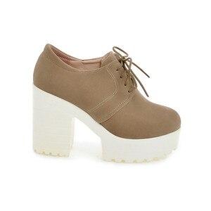 Image 4 - BONJOMARISA Womens Keroan Style Square High Heel Shoes Woman Lace Up Round Toe Platform Pumps Big Size 34 43