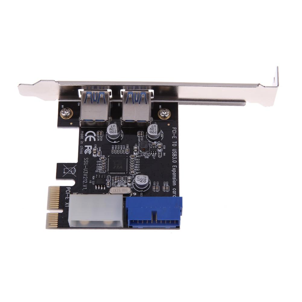 USB 3.0 PCI-E paplašināšanas karte Ārējā 2 portu USB3.0 + iekšējā 19pin galvenes PCIe kartes 4pin IDE barošanas savienotājs