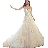 Sweetheart Wedding Plus Sise Strapless i dui bridal A Line Lace Appliques Wedding Dresses For Bride vestidos de casamento