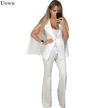 Uown White Pant Suits for Women Two Piece Outfits Autumn Long Sleeve Lapel Cape Split Poncho Cloak Blazer Coat+Flare Pants Sets