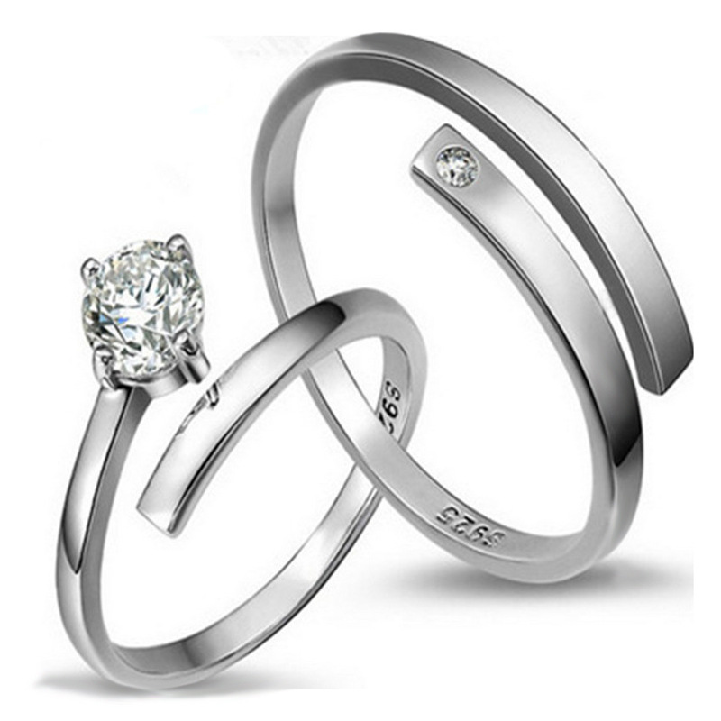 190575754d7 ER Wedding Band Forever Love Couple Ring Pair Simple Silver Color ...