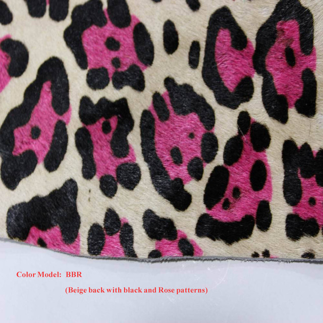 Genuine Leopard Prints Horse Fur And Leather Fabric Material For Rug Handbag Free Shipping