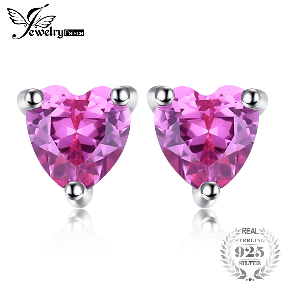 JewelryPalace 0.63 ct Created Pink Sapphires Stud Earrings 925 Sterling Silver Romantic Heart Earrings For Women Fine Jewelry