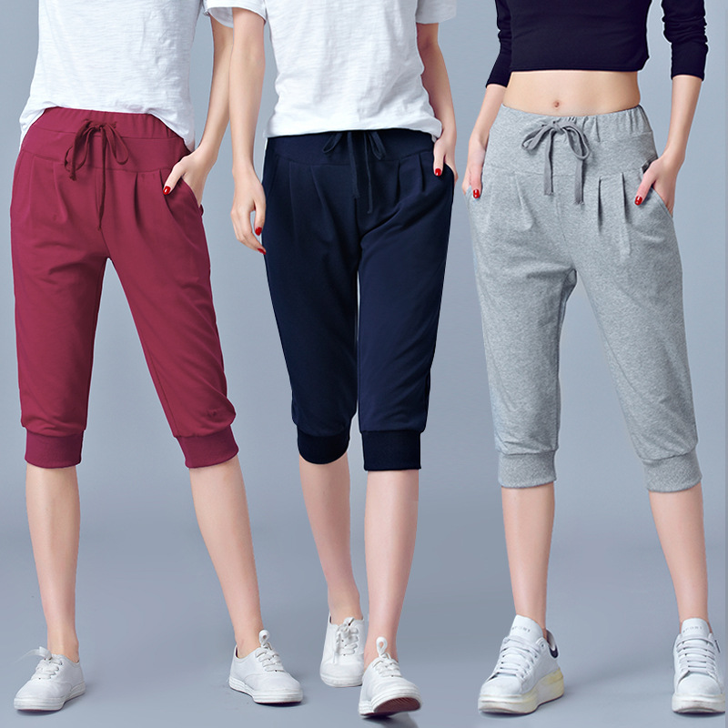 Pants For Women Summer Harem  High Waisted Elastic Loose Joggers Sweatpants Calf Length Female Capris Trousers 5XL 6XL