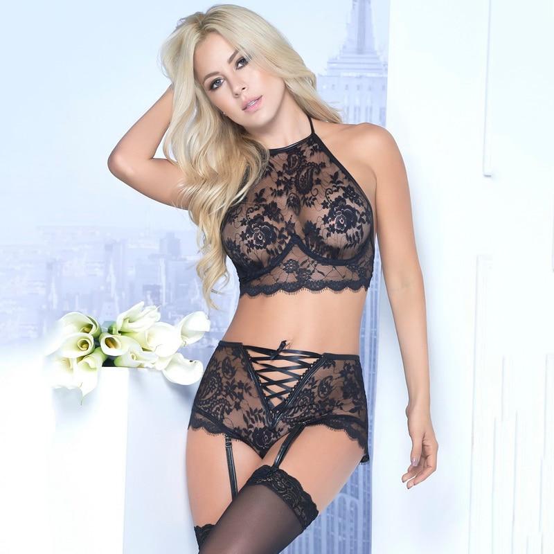 Sexy Lace Push Up Bra Sets Bra+panties Lingerie Wire Free Lenceria Sexy Bielizna Damska Transparent Lenceria Lace Underwear