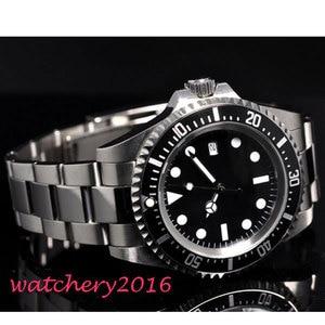 Image 2 - 42mm parnis black sterile dial luminous marks date window vintage SEA automatic movement mens Watch