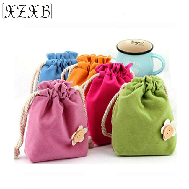 Fashion Flannel Cute Little Flower Bag Pocket Creativity And Candy Colored Tampon Receiving Bags Cosmetic Cases
