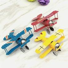 3pcs/set handicraft vintage retro metal iron biplane model aircraft