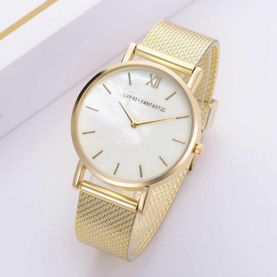 LVPAI שעונים לנשים יוקרה כסף פופולרי חיוג מתכת גבירותיי צמיד קוורץ שעון גבירותיי שעון יד חדש Fi