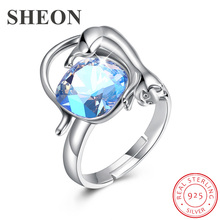 SHEON Authentic 925 Sterling Silver Adorable Cat Blue Crystal Adjustable Finger Rings for Women Sterling Silver Ring Jewelry top quality princess kate blue gem created blue crystal 925 sterling silver wedding finger crystal ring brand jewelry for women