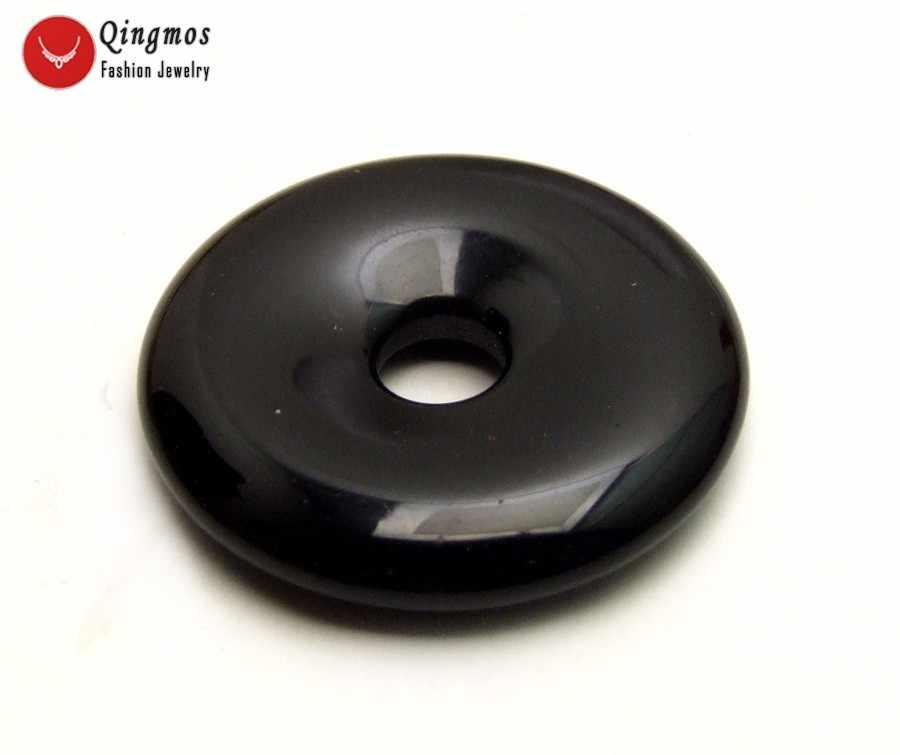 Qingmos สีดำธรรมชาติ Agates จี้สำหรับผู้หญิง 40 มิลลิเมตรรูปร่างหินแท้ Agates จี้เครื่องประดับ pen104