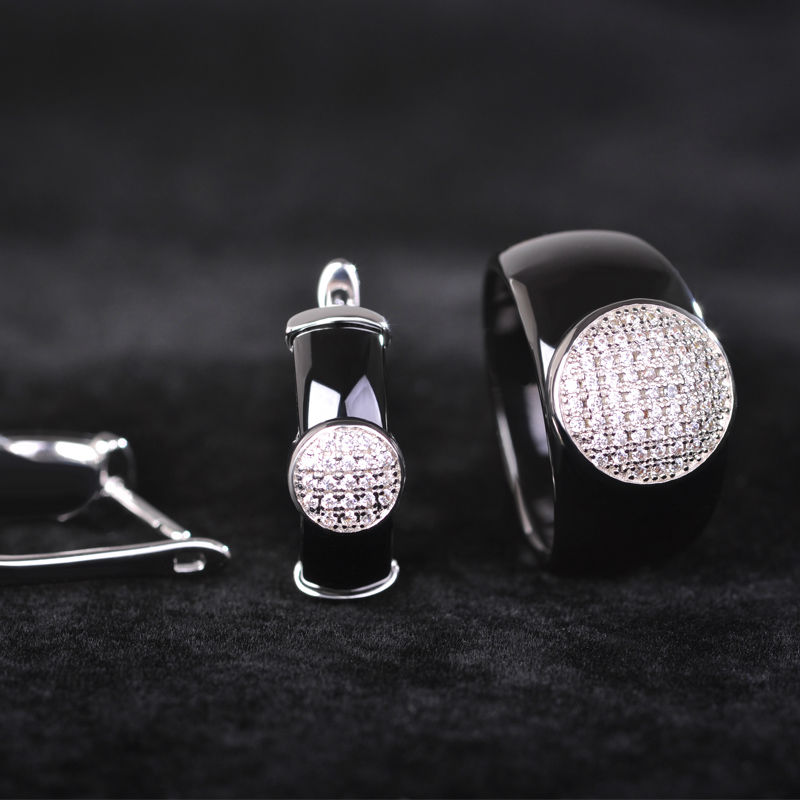 Dazz Sederhana Hitam Putaran Zircon Keramik Perhiasan Set Anting - Perhiasan fashion - Foto 1