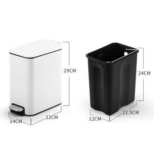 Image 2 - 5L Edelstahl Fingerproof Schritt Pedal Mülleimer Abfall Korb Staub Bin Müll Recyceln Können Bin Stille Deckel Wc Küche