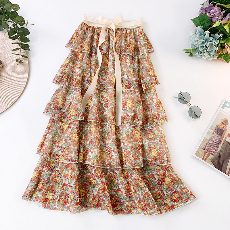 be4fb4eb8e9c PEONFLY moda mujer falda 2019 verano Flores rotas gasa Midi Falda larga  mujer alta cintura plisada Boho falda