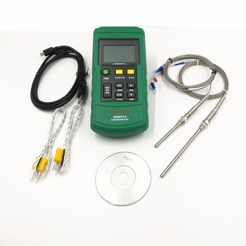 цены MASTECH MS6514 Dual Channel Digital Thermometer + 1PCS 50mm and 1pcs 100mm K-type thermocouple temperature sensor probe