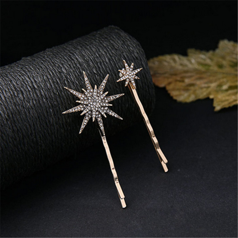 WWLB Brands Unique Design Moon Star Hair Clip Hair Jewelry Rhinestone Hairpins Fashion Gold Barrettes Wedding Hair Accessories in Hair Jewelry from Jewelry Accessories
