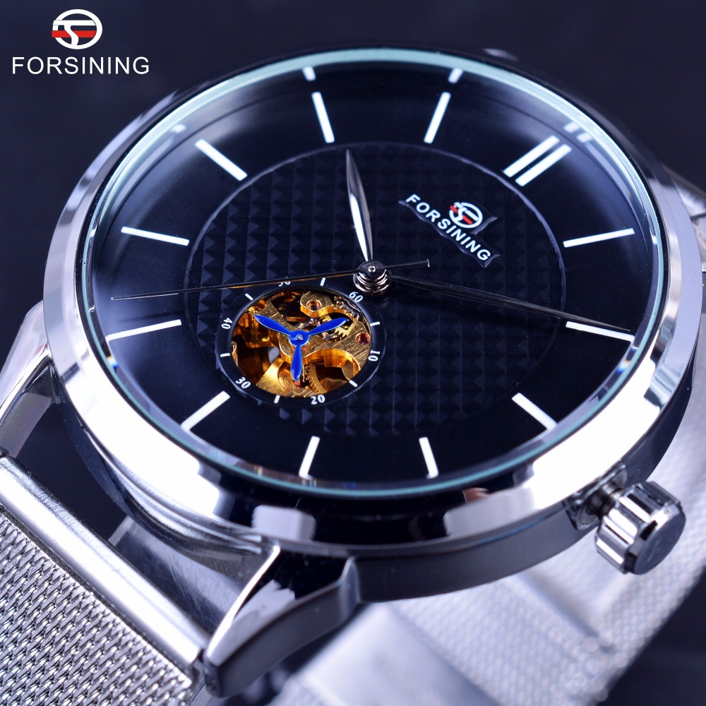 Forsining 2017 Series Super Thin Bracelet Stainless Steel Men Watches Top Brand Luxury Small Golden Dial Display Automatic Watch managing projects super series