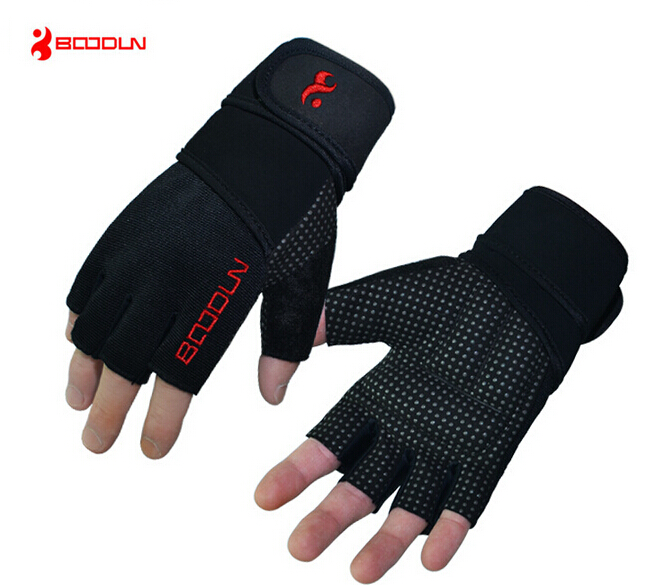 Boodun Men Women Non slip Weightlifting Body Building Fitness Half Finger Lengthen Sport Protective Bicycle Cycling