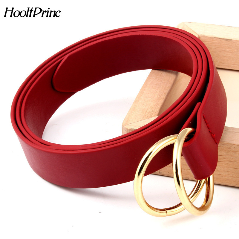 Brand2018 New Double Ring Round Buckle Ladies PU Leather   Belt   Fashion Personality Knotted Decorative   Belts   For Women