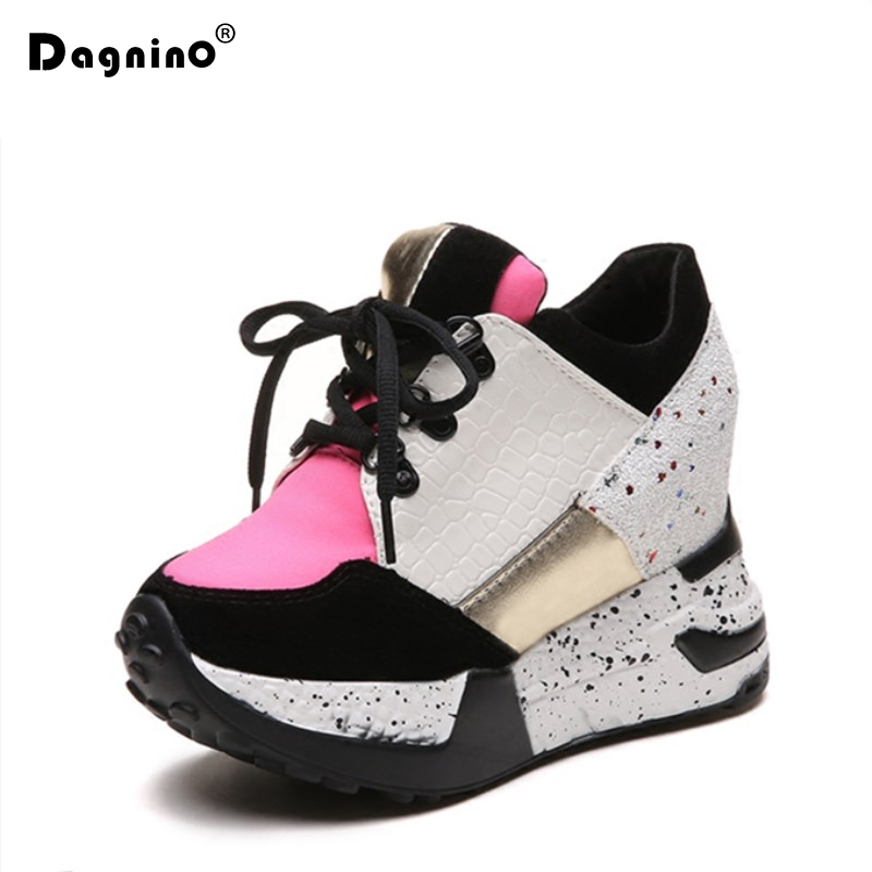 DAGNINO Spring Women High Heels 2018 Fashion Breathable PU Platform Height Increased Wedge Shoes Black Ladies 11 CM Thick Sole 20cm high height sex shoes pu platform hoof heels high heels no wg10b