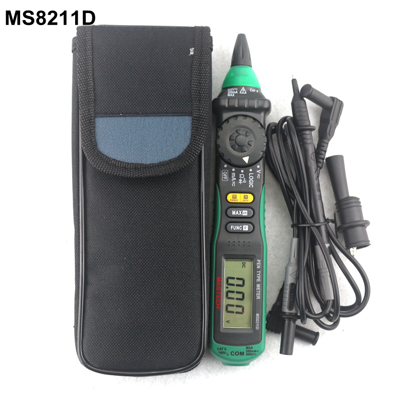 MasTech MS8211D Pen-Type Digital Multimeter with Test leads AC DC Volt  Amp with Resistance Ohm Multi Tester Diagnostic-tool 1 pcs mastech ms8269 digital auto ranging multimeter dmm test capacitance frequency worldwide store