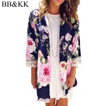 Kobiety trzy czwarte rękaw otwórz Stitch kwiatowy swetry rozpinane Kimono koszule kurtki plaża Boho bluzka Femme Cover up