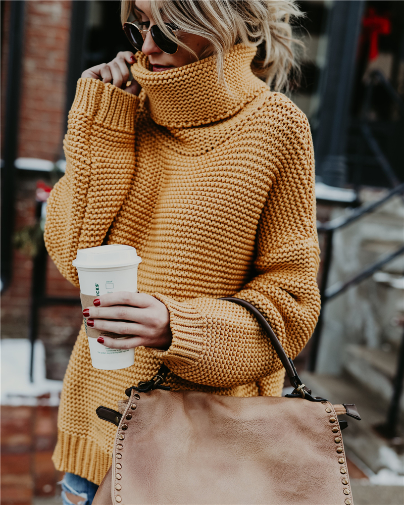 Winter Tops For Woman 2019 Autumn Winter Sweaters  Lantern Sleeves Solid Knitted Turtleneck Sweaters Casual Ladies Pullovers