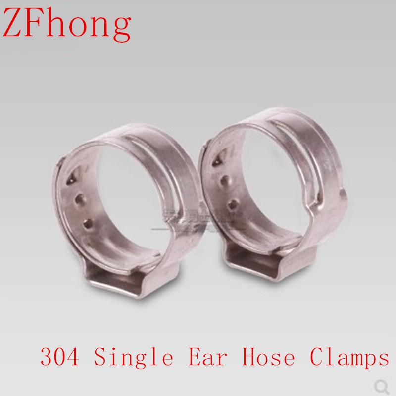 25PCS/LOT 6MM 6.5MM 7MM 7.5MM <font><b>8MM</b></font> 8.7MM 9MM 9.5MM 10MM 10.5MM Stainless Steel 304 Single Ear <font><b>Hose</b></font> <font><b>Clamps</b></font> image