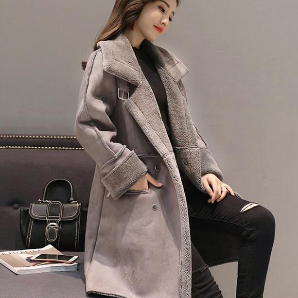 Manteaux D'hiver Longue Outwear 2018 En Manches Femelle Longues Femmes Suede Épaissir Laine Parka D'agneau Df857 Pardessus Veste Chaud YwYCqz5R